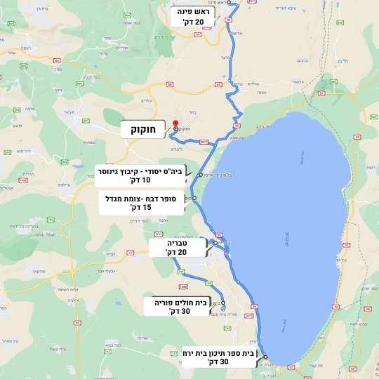 מפה של קיבוץ חוקוק